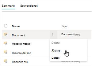 Immagine della pagina Contenuto del sito con il cursore posizionato Impostazioni nel menu Documenti.