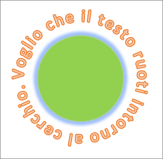 testo curvato intorno a una forma cerchio