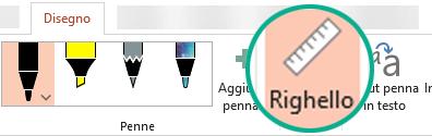 Lo stencil Righello si trova nella scheda Disegno sulla barra multifunzione di PowerPoint 2016.