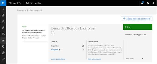 Gli amministratori globali possono accedere a portal.office.com e passare a Amministrazione > Fatturazione