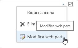 Menu Modifica web part evidenziato