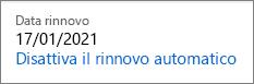 Collegamento per disattivare il rinnovo automatico di un abbonamento a Office 365 Home.