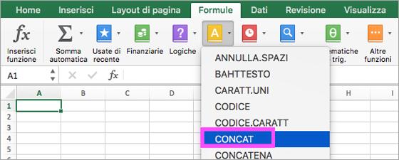Funzioni CONCAT e TESTO.UNISCI disponibili in Excel.