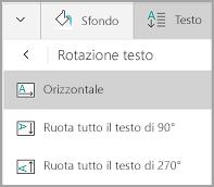 Rotazione del testo delle tabelle in Windows Mobile