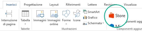 Usare il pulsante Store nella scheda Inserisci sulla barra multifunzione di Office per installare i componenti aggiuntivi di Office