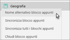 Mostra un blocco appunti del team, con il blocco appunti Nome alternativo selezionato