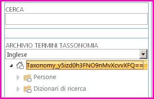Schermata della visualizzazione albero nello Strumento di gestione archivio termini, nella quale sono mostrati il nome della tassonomia e le cartelle secondarie.