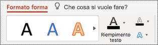 Pulsante testo alternativo sulla barra multifunzione per una forma in PowerPoint per Mac.