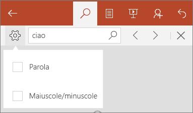 Opzioni per Trova in PowerPoint Mobile: Maiuscole/minuscole e Parola.