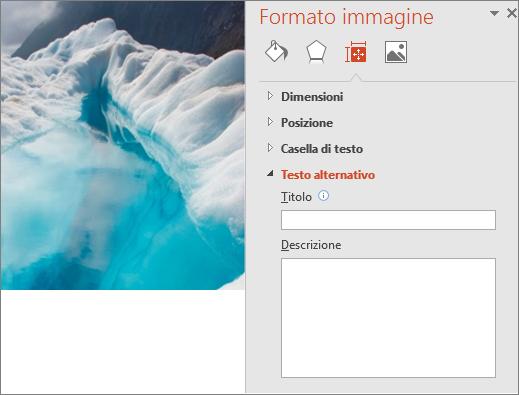 Versione precedente dell'immagine di un lago glaciale con la finestra di dialogo Formato immagine senza alcun testo alternativo nella casella Descrizione.