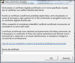 Finestra di dialogo Crea certificato digitale