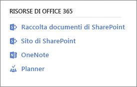 Schermata che mostra Office 365 risorse
