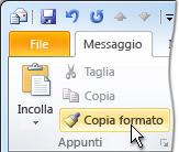 comando copia formato sulla barra multifunzione