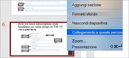 Mostra Link a questa diapositiva in una presentazione