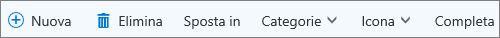 Barra dei comandi delle attività per Outlook.com