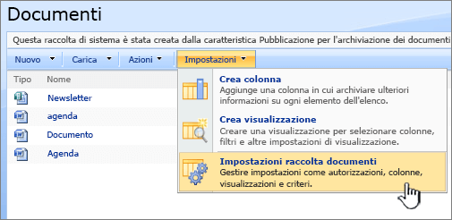 Selezione dell'opzione Impostazioni raccolta documenti dal menu Impostazioni