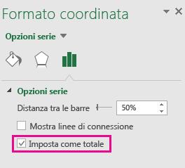 Riquadro attività Formato dati con l'opzione Imposta come totale selezionata in Office 2016 per Windows