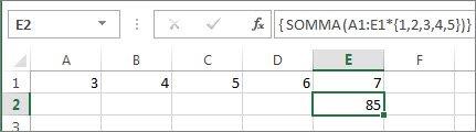Costante di matrice annidata in una formula SOMMA