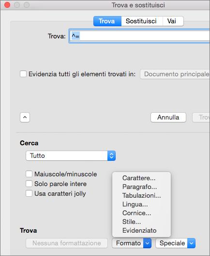 Mostra le opzioni di formattazione