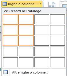 Righe e colonne di layout delle pagine del catalogo