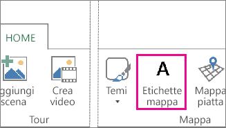 Pulsante Etichette mappa nella scheda Home di Power Map