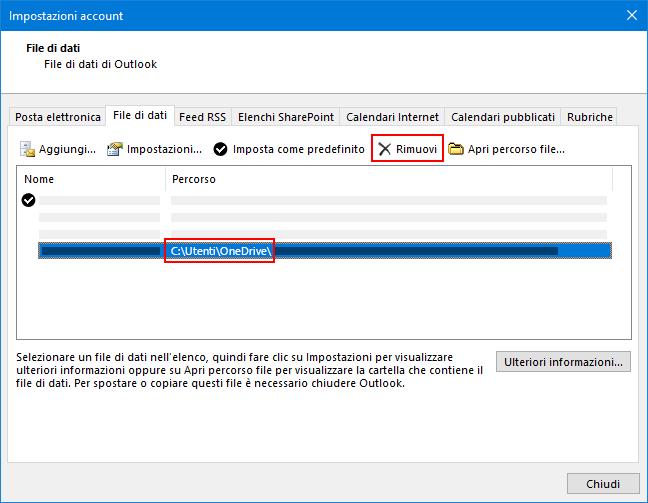 Finestra di dialogo file di dati di Outlook
