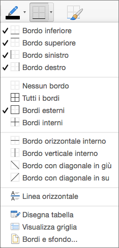 Per la struttura della tabella vengono visualizzate le opzioni per i bordi