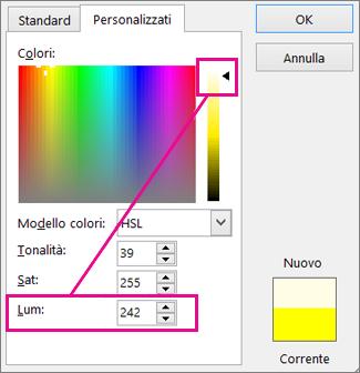 Scorrere la selezione in alto la scala di luminosità aumenta il valore Lum