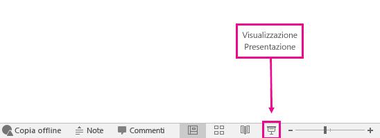 mostra la posizione del pulsante Visualizzazione Presentazione in PowerPoint