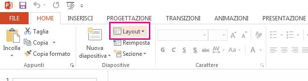 L'opzione Layout è nella scheda Home.