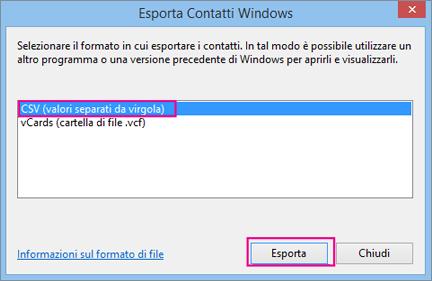 Scegliere CSV e quindi Esporta.