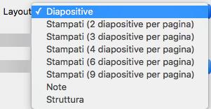 Selezionare il layout Diapositiva nella finestra di dialogo Stampa