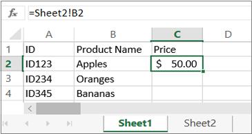 "Wordsheet che mostra ""Sheet2"" nella barra della formula"