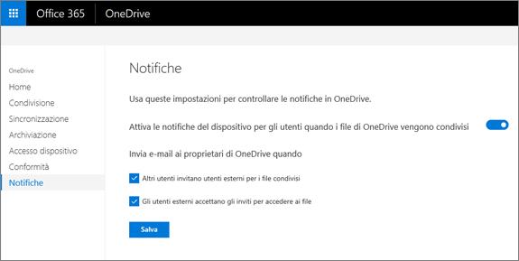 La scheda notifiche dell'interfaccia di amministrazione di OneDrive