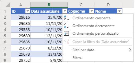 Usare il filtro di tabella di Excel per ordinare i dati in ordine crescente o decrescente