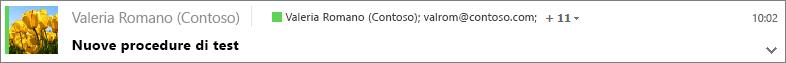 Nella cartella Posta inviata selezionare un messaggio per visualizzare i destinatari in Ccn e, se necessario, espandere la freccia per visualizzare l'intestazione del messaggio completa.