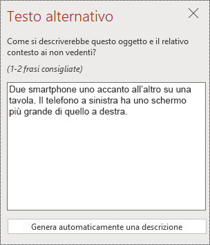 Finestra di dialogo testo alternativo in PowerPoint online.
