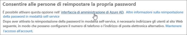 Selezionare il collegamento per passare all'interfaccia di amministrazione di Azure.