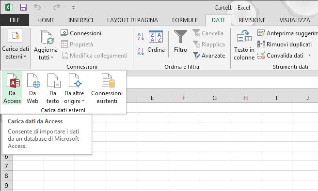 Importare dati da Access con la barra multifunzione ridotta