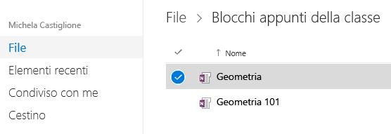 Un blocco appunti della classe è selezionato nella cartella Blocco appunti della classe di OneDrive.