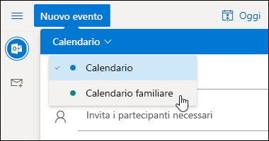 Screenshot del menu a discesa Selezione calendario