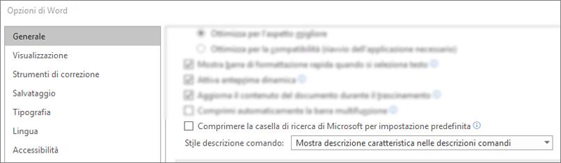 La finestra di dialogo file > opzioni che mostra la casella Comprimi la ricerca di Microsoft per impostazione predefinita.
