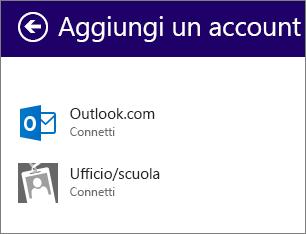 Scegliere il tipo di account da aggiungere