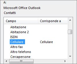 colonna tel. cell. mappata al campo cellulare di outlook