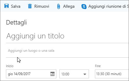 Screenshot del riquadro del nuovo evento del calendario con la casella Aggiungi una posizione o una sala.