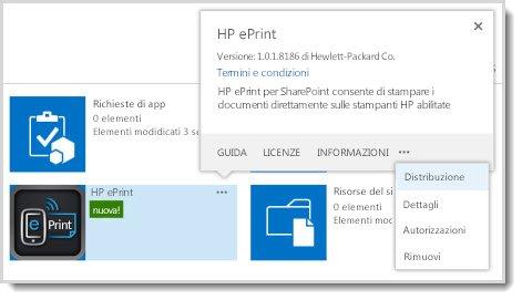 Il comando Distribuzione è disponibile nel callout delle proprietà per un'app nel sito Catalogo app.
