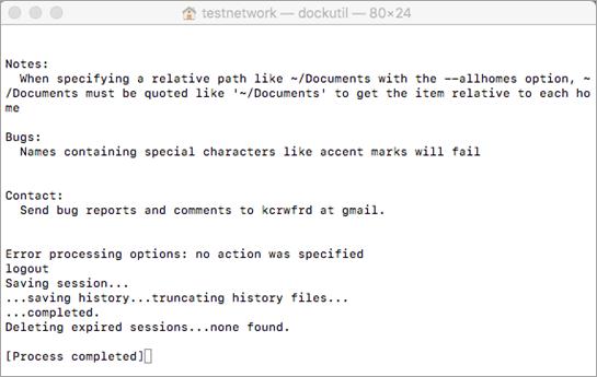 Eseguire lo strumento Dockutil usando CTRL+clic per aprire.