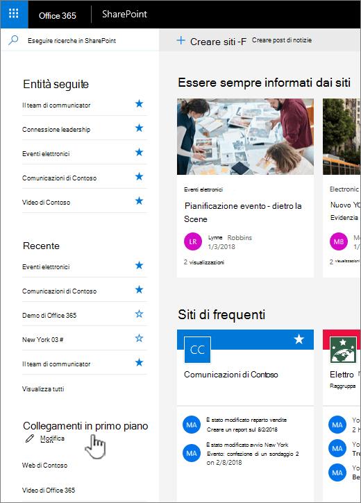 Elenco di collegamenti nella home page SharePoint online