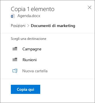 Screenshot che mostra come scegliere una posizione quando si copia un file in SharePoint