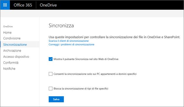 Scheda Sincronizza nell'interfaccia di amministrazione di OneDrive